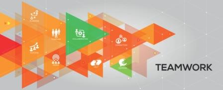orange_and_green_triangles_ with_images_of_teamwork