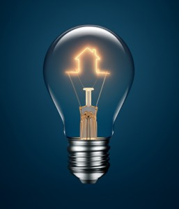 Light Bulb with Filament Forming a House