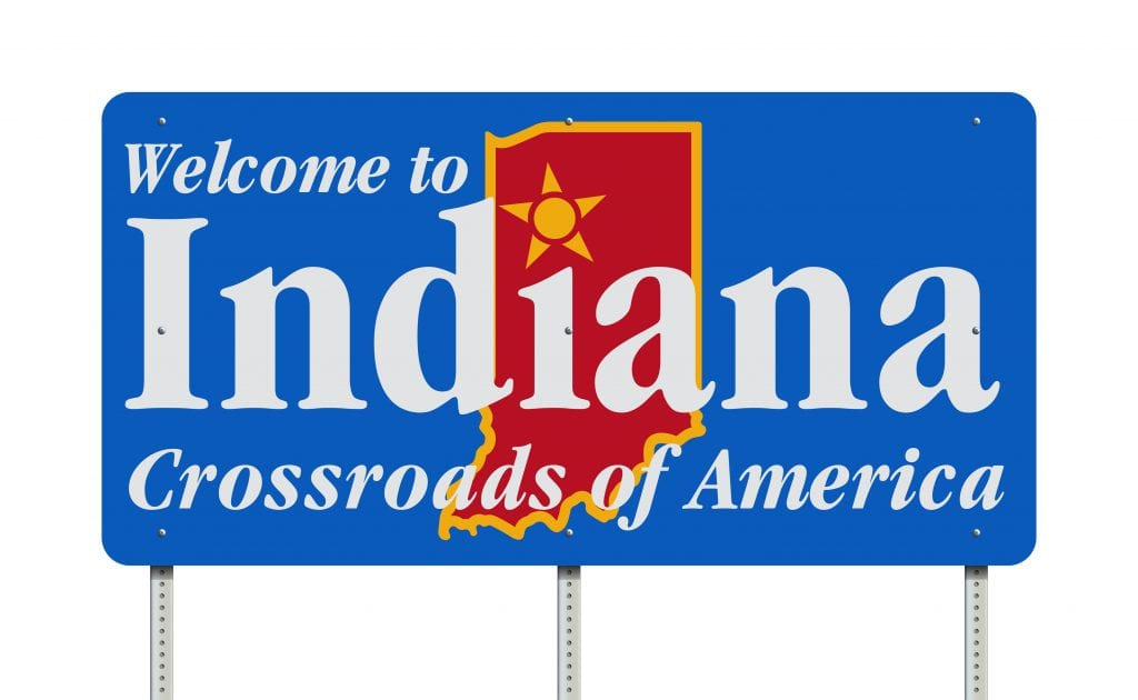 welcome to Indiana road sign
