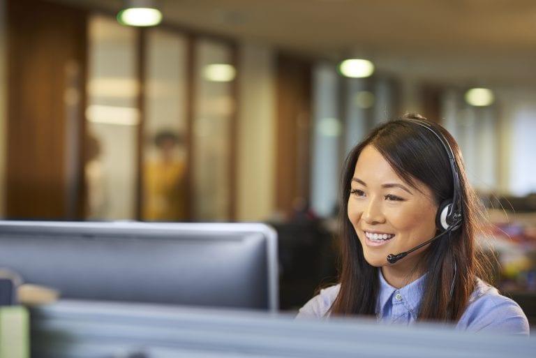 female telemarketing services agent