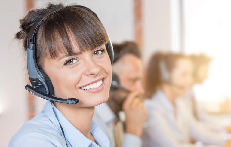 pretty female call center operator