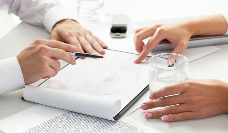reviewing paperwork