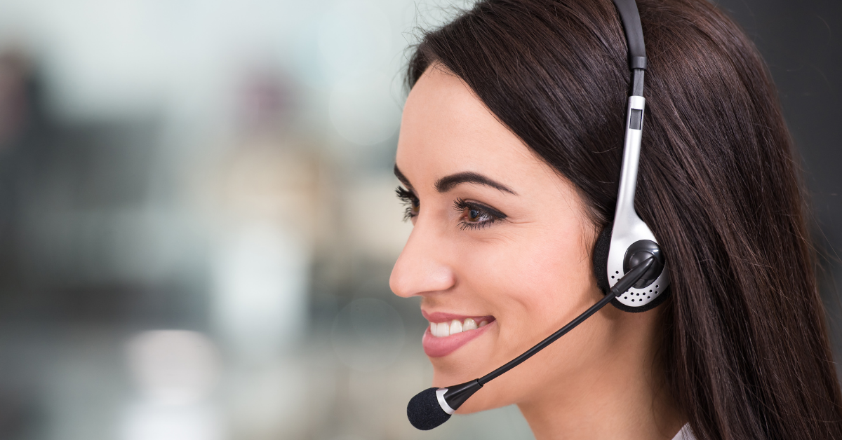 Call center agent on headset
